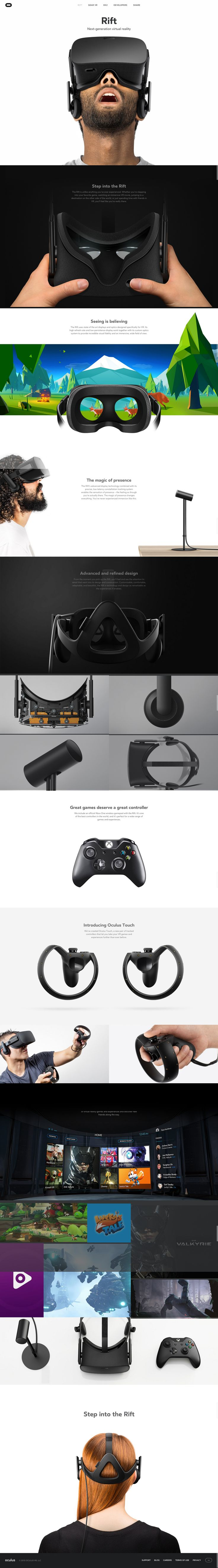(Week 1) oculus.com/rift Minimal, parallax infinite scroll, focus on the product it lets the product speak for itself (odd since the assumed target audience is people focused on specs and comparison to others. Maybe unnecessary in a relatively new field?)