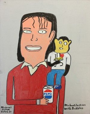 Michael Pellew, Michael Jackson and Bubbles, 2014, Acrylic on Canvas, 14%22x11%22.JPG