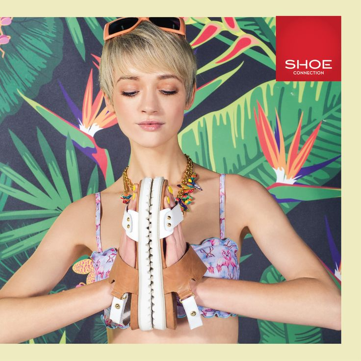 Shoe Connection Spring/Summer 14/15 Campaign. Sandals - Swimwear - Tropical Pattern. Shop: http://www.shoeconnection.co.nz/