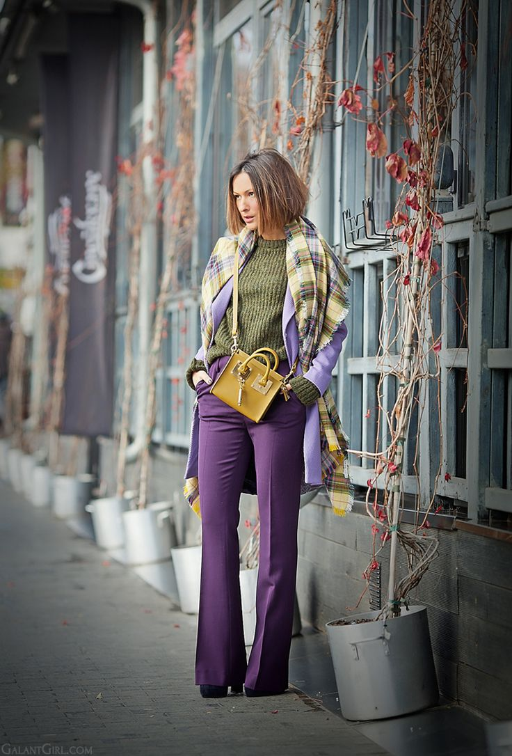 autumn outfit in purple and green colors on GalantGirl.com