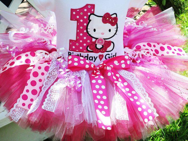 1st Birthday Outfit - tutu & hello kitty shirt