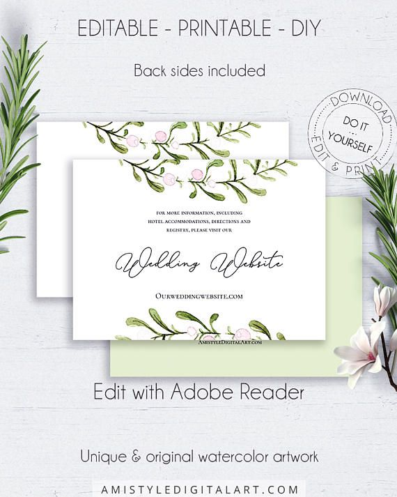 Visit Our Website Insert Card, with adorable and stylish watercolor greenery graphics in rustic styleThis green and white website insert card template is an instant download EDITABLE PDF pack so you can download it right away, DIY edit and print it at home or at your local copy shop by Amistyle Digital Art on Etsy