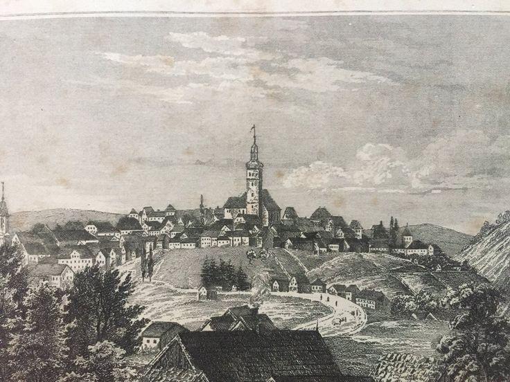 Annons på Tradera: Schneeberg Antik Etsning Topografisk Plansch 1840 Das kleine Universum