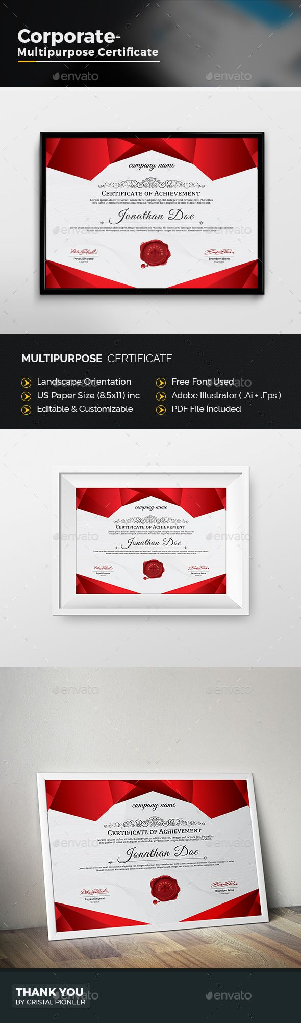 34 best certificate templates psd images on pinterest multipurpose certificate yelopaper Choice Image