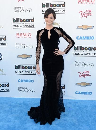 Emmy Rossum in black sheer Zuhair Murad at the Billboard Music Awards.