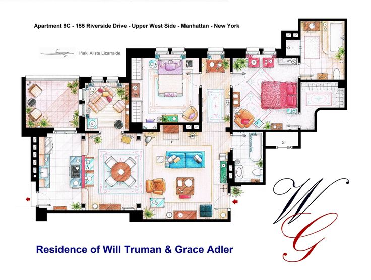 ".The apartments of Will Truman, Grace Adler and Jak MacFarland from the show ""Will & Grace"".And ""Jack's Cafe"" too….Some sets have changed throughout the different seasons and this floorplan is a mixture of various of them.This is a hand drawed plan, in scale, coloured with colour pencils and with full details of furniture, fabric, timbers and complements…The design is made according with the ""real"" apartment respecting the spaces, proportions, furniture and objets presents in the studio…"