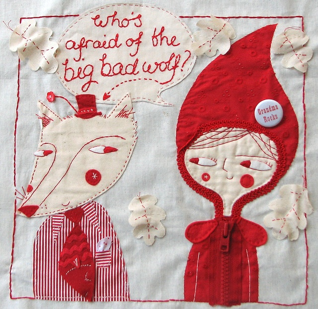 Lisa Stubbs  Who's Afraid of the Big Bad WolfSewing, Lisa Stubbs, Quilt Projects, Textiles Art, Red Riding Hoods, Sonny Sky, Art Illustration, Stitches, Embroidery