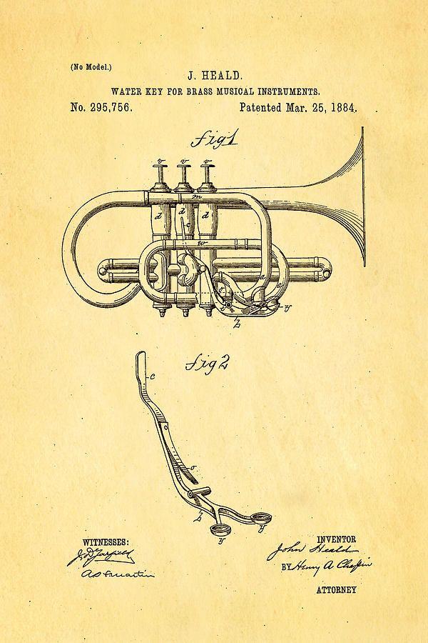 Famous Photograph - Heald Brass Instrument Water Key Patent Art 1884 by Ian Monk