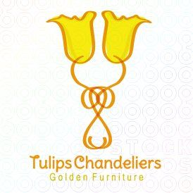 Like how the tulips are incorporated into the chandelier to make the logo.
