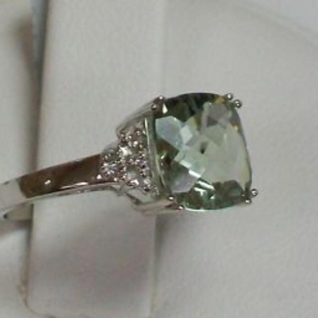 My engagement ring. Five carat green amethyst.
