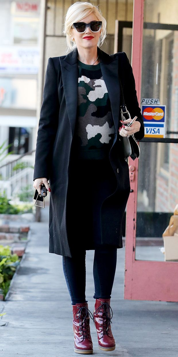 One of my fave style icons!!! Who loves Gwen Stefani????     @whowhatwear - Gwen Stefani Gives The Camo Trend A Chic Update