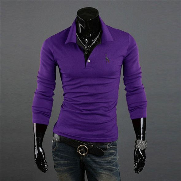 Men's Casual V-Neck Slim Fit Long Sleeve Polo Shirt - 10 Colors
