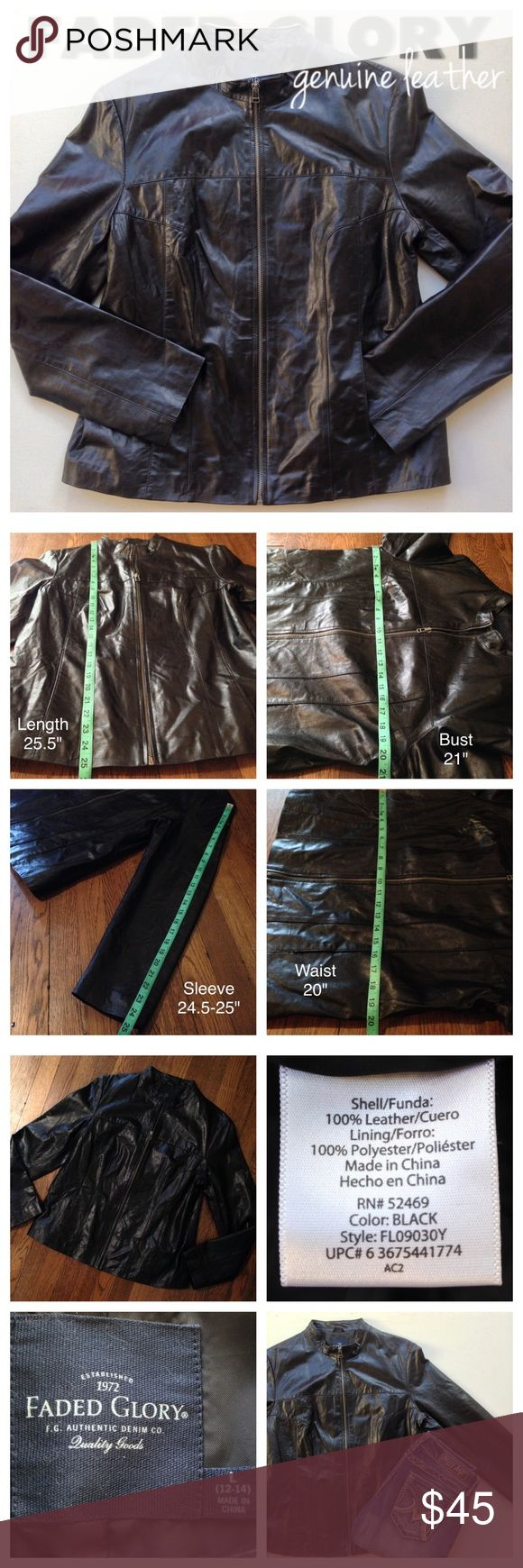 Black Genuine Leather Sleek Zip Jacket, Large MEASUREMENTS IN PHOTOS. Solid black genuine leather, full frontal zip closure, minimal stretch, fully lined, flat front pockets. NEVER WORN!! Perfect with jeans or dress it up with black pants!! *Kate Faded Glory Jackets & Coats