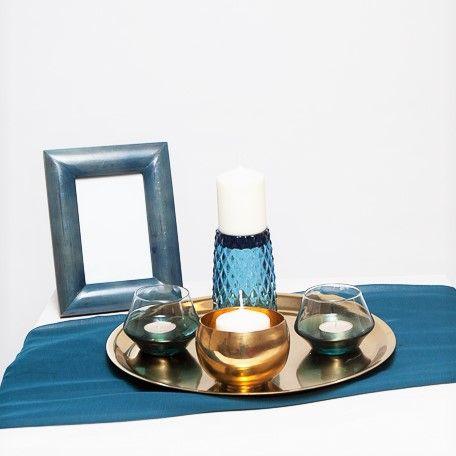 suport lumanari diverse, de sticla sau metal, albastre si aurii