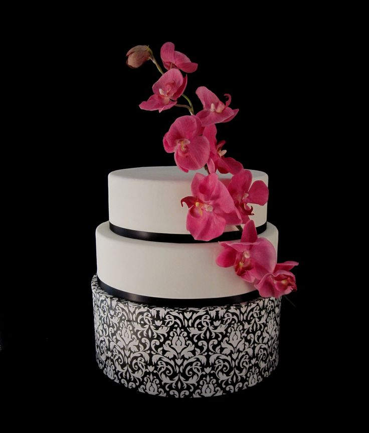 Sweet thing black orchid wedding cakes