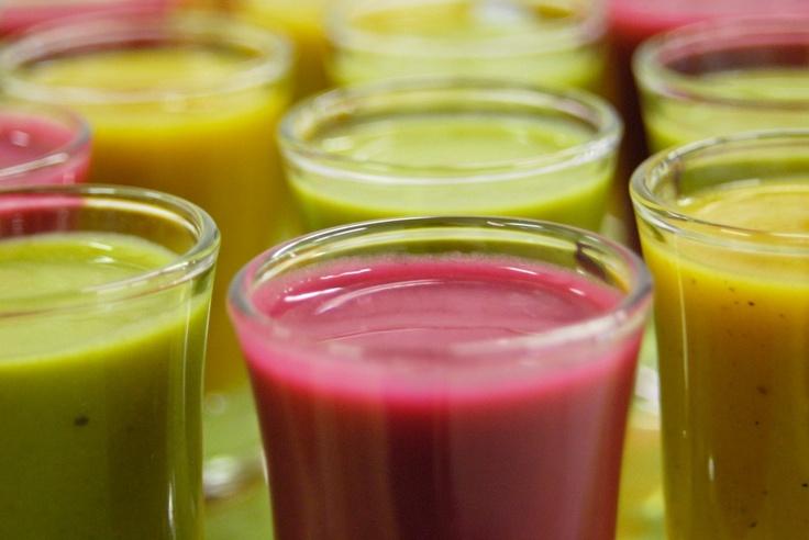 Colourful Cold Soup shots - Fuchsia Epicerie Fleur