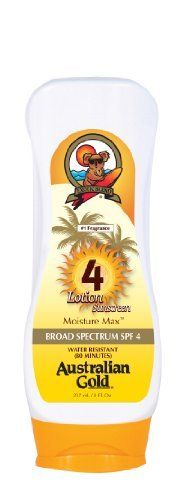 Australian Gold SPF 4 Lotion, 8 Ounce by Australian Gold. $7.99. Very water and sweat resistant. Protects and conditions the skin against harsh elements. Mineral oil-free formula. Moisturizing exotic oils, sunflower seed oil, tea tree and fruit oil. Aloe vera provides soothing and natural healing. Australian Gold SPF lotion combine sun protection along with superior skin hydrating oils to leave your skin hydrated and nourished.