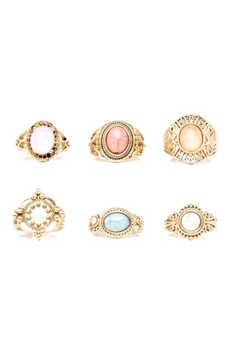 Primark - Pack de 6 anillos gruesos con colores pastel