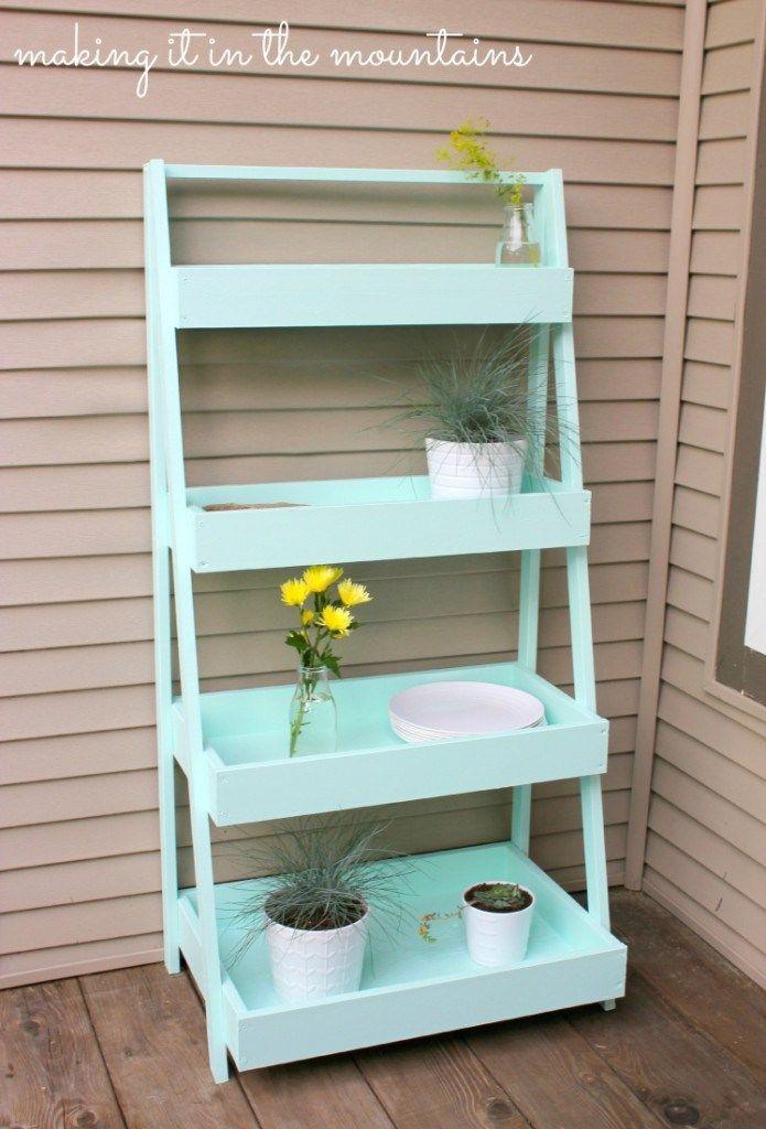 Diy ladder shelf g rten verandas und tabletts - Estantes para macetas ...