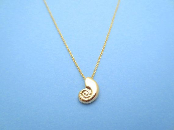 Ariel Voice Gold Filled Chain Seashell Necklace by Solistar, $19.80