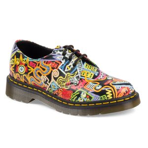 Dr. Martens unisex '1461' low-top leather shoes with an exclusive graffiti-inspired 'Kaboom' print by Mark Wigan, one of the UK's most iconic graphic artists and an urban art pioneer. Crafted with full grained leather uppers, the shoes feature a lace-up fasten with three pairs of metallic eyelets and are secured to a chunky air-cushioned sole via a classic Goodyear-welt, using PVC for the welt. Complete with signature Dr. Martens branding printed to the footbed.