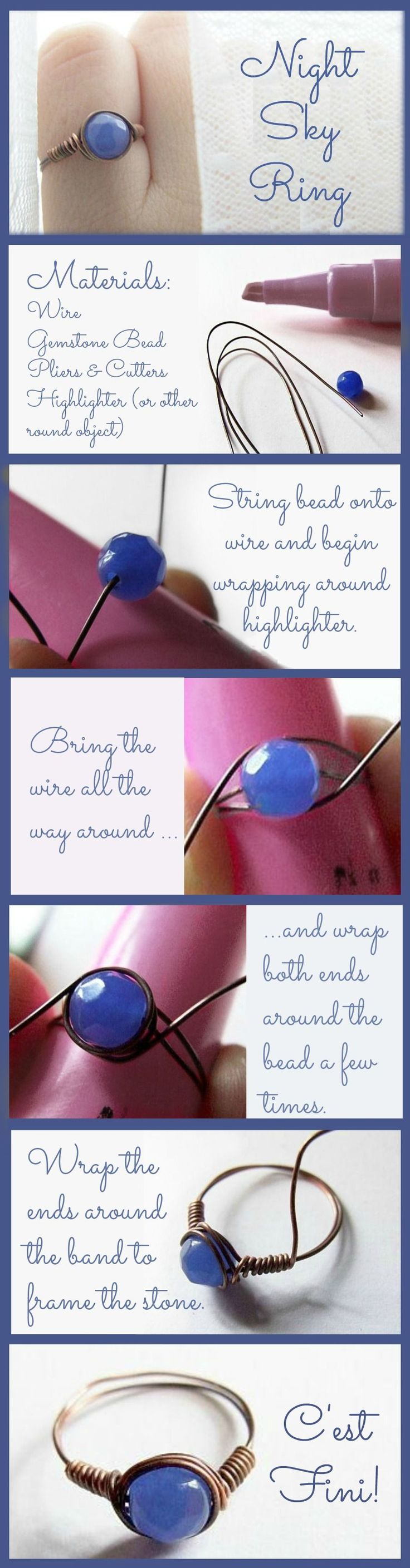 This easy-to-make ring is gorgeous, and so romantic!  Kasia uses copper wire, and a beautiful faceted agate in a shade of blue that is both deep and misty.   http://www.slideshare.net/houseofgemssm/night-sky-ring-simple-wire-wrapping-diy