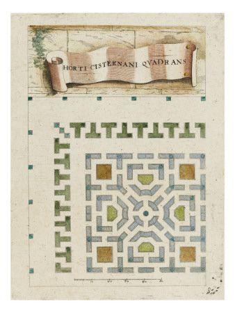 Modèle de parterre de jardin surmonté d'une banderole - Musée national de la Renaissance (Ecouen)