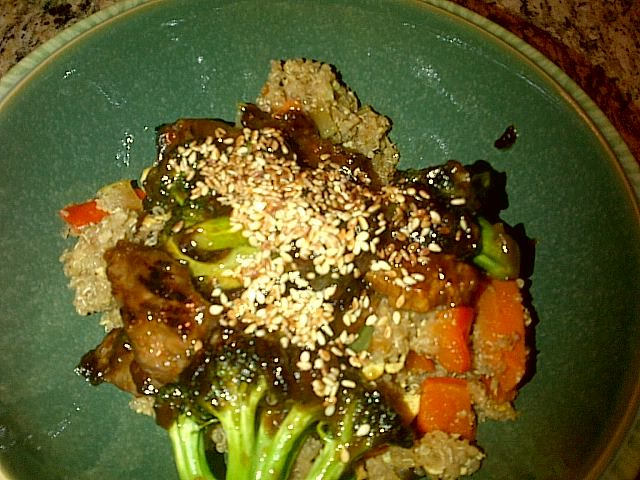 Beef and Broccoli with Fried Quinoa