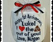 Aniversario 1 º o 2 º papel higiénico Gag regalo personalizado bordado rápido envío personalizado divertido último minuto regalo marido o esposa