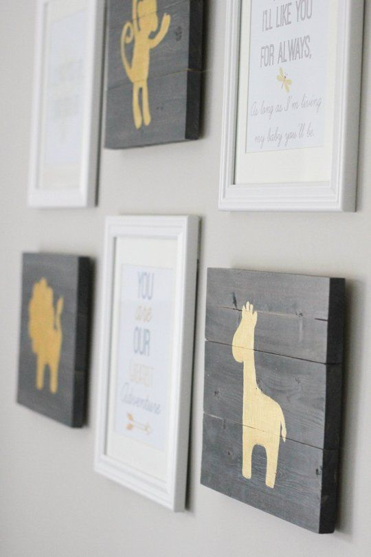 Silhouettes on wood boards. (from A Grey & Gold Absolutely Beautiful Nursery, AT)
