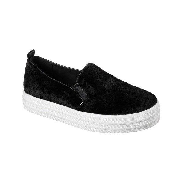 Women's Skechers Double Up Faux Real Slip-On Sneaker ($52) ❤ liked on Polyvore featuring shoes, sneakers, black, casual, platform shoes, fur lined sneakers, flatform sneakers, black slip-on shoes and skechers shoes