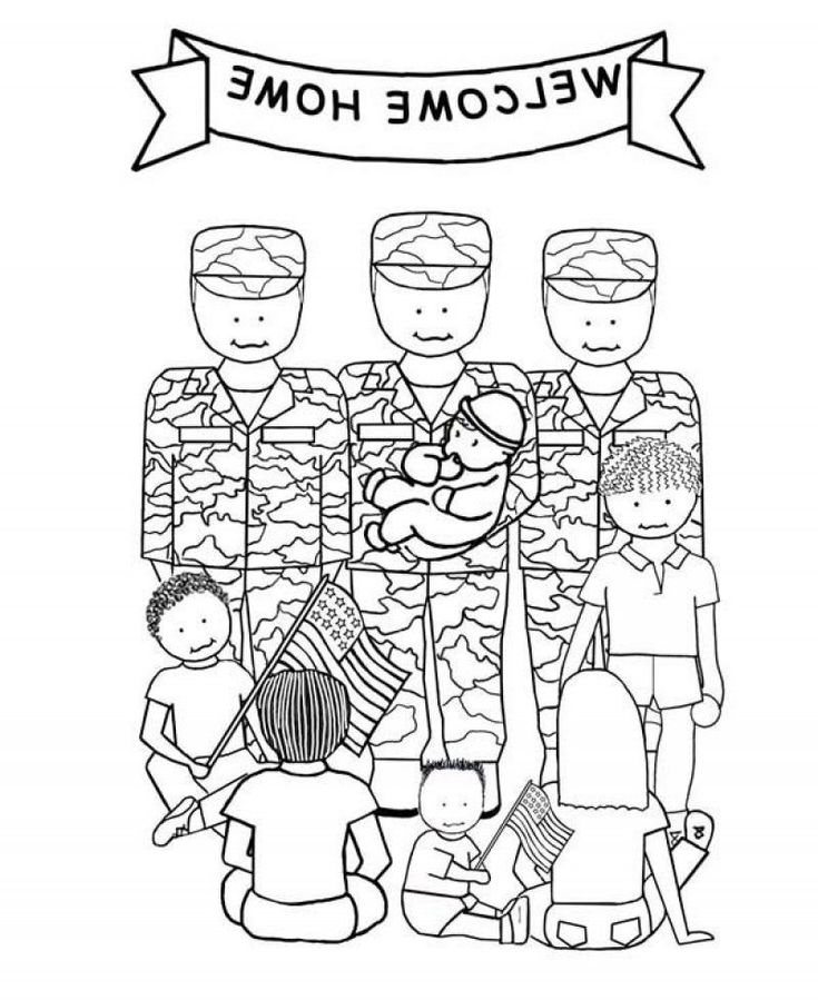 Welcome Home Soldiers Veterans Day Coloring Page - Kids Colouring