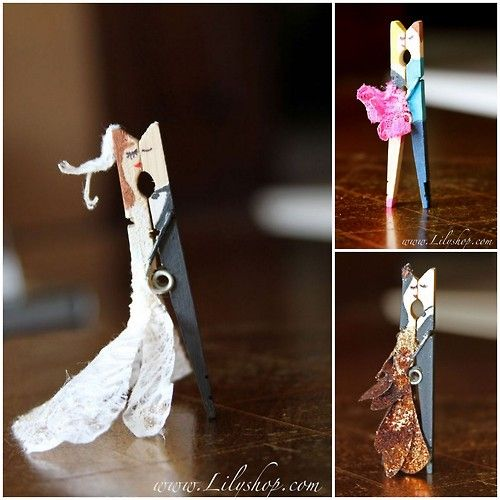 DIY Kissing Clothespins for Valentine's Day. Top Collage:...