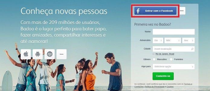 Acesse a página do Badoo (Reprodução/Taysa Coelho)