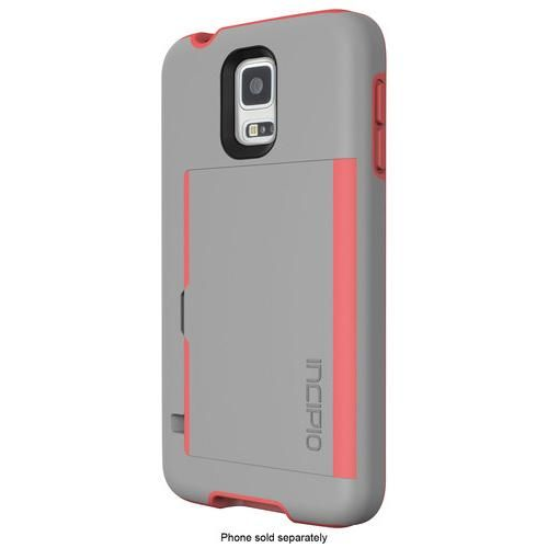 Incipio - STOWAWAY Case for Samsung Galaxy S 5 Cell Phones - Gray/Neon Orange - Larger Front