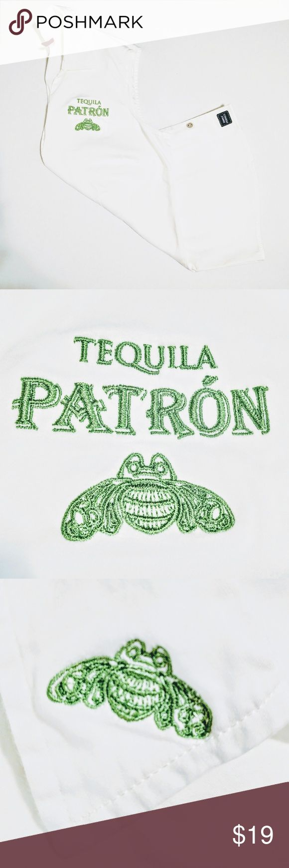 "🐝 sleeveless blouse w/Patron Tequila emblem * Size Medium * Sleeveless Collared Button Up Shirt / Blouse * White w / Green Embroidery Bumble Bee + "" Tequila Patron "" * Slimming Silhouette w / Darting * Front Button Closure * Small Patch at Bottom of Shirt "" Simply Perfect "" * 100% Cotton * NEW - FLAWLESS  * Spring * Summer * Tank * Top * Golf * Preppy Tops"