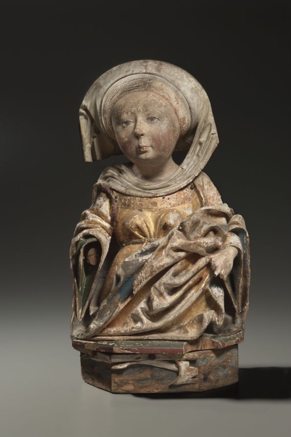 Female Bust, c. 1470-1500 Austria, 15th century Painted and gilded lindenwood, without base: h. 47.00 cm