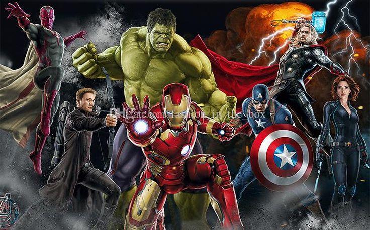 fondos de escritorio fondos de escritorio 3D Vengadores Foto de encargo para las paredes Hulk Iron Man Capitán América Mural Dormitorio de los muchachos sala de estar del diseñador restaurante