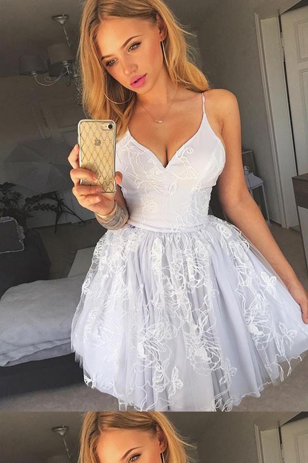 7a882d5393d Cheap Feminine V-Neck Homecoming Dress