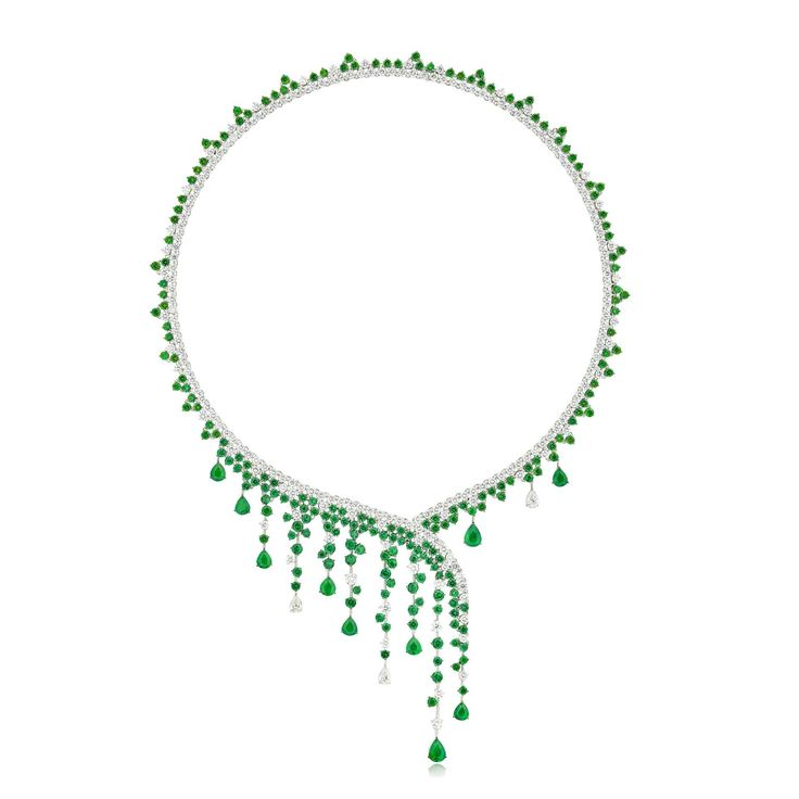 Stenzhorn Diana necklace from the Goddess collection in emeralds and white diamonds. http://www.thejewelleryeditor.com/jewellery/article/stenzhorn-high-jewellery-myths-magic/ #jewelry
