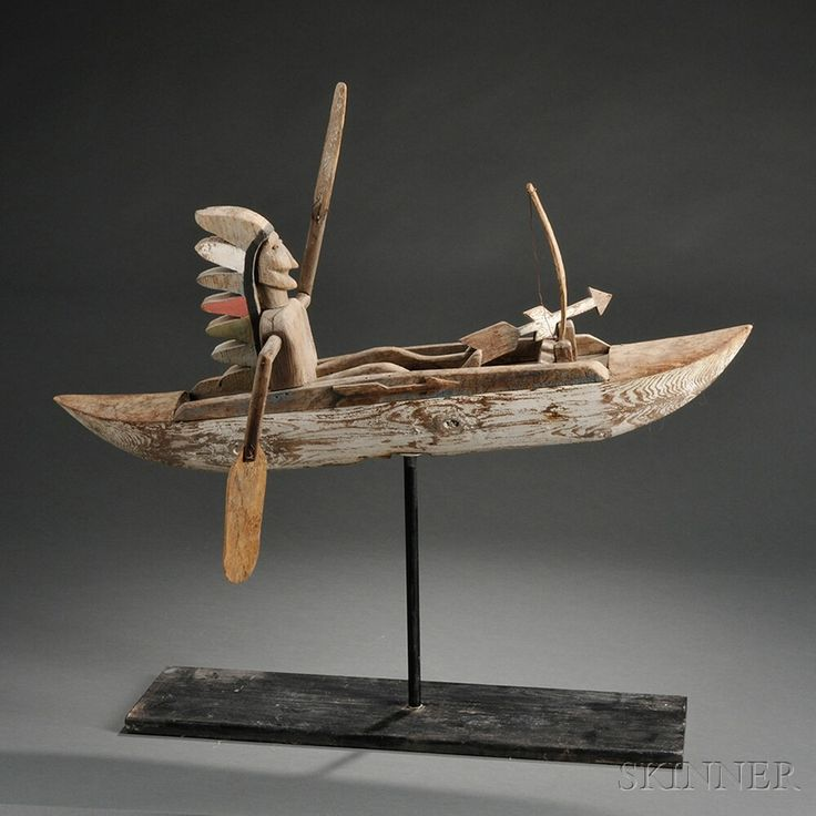 Indian in Canoe Whirligig | Sale Number 2743T, Lot Number 1342 | Skinner Auctioneers. Sold for $800.