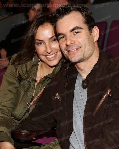 Jeff Gordon and wife,  Ingrid Vandebosch, at Ranger's game