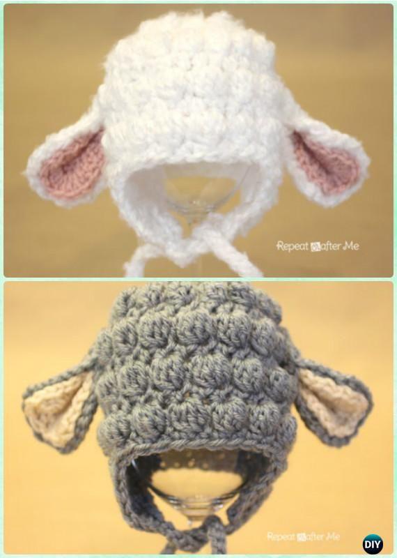 Crochet Bobble Stitch Lamb Earflap Hat Free Pattern Instructions-DIY #Crochet Ear Flap #Hat Free Patterns