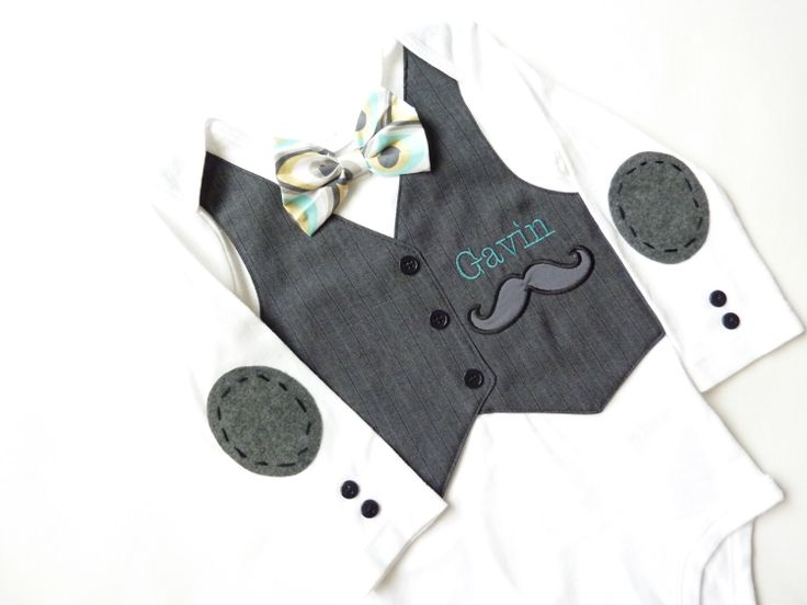 Mustache Baby Boy Tuxedo Bodysuit with Elbow by sarasweetandsmall, $41.00