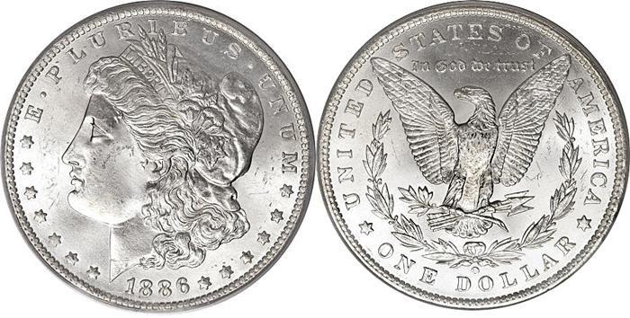 MORGAN SILVER DOLLAR 1878-1904 (1921).  SPECIFICATIONS:  Designer: George T. Morgan  Diameter: 38.1 millimeters  Metal Content: Silver - 90% Copper - 10%  Weight: 26.73 grams  Edge: Reeded