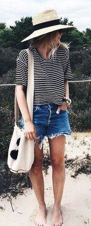 summer outfits striped t shirt denim shorts