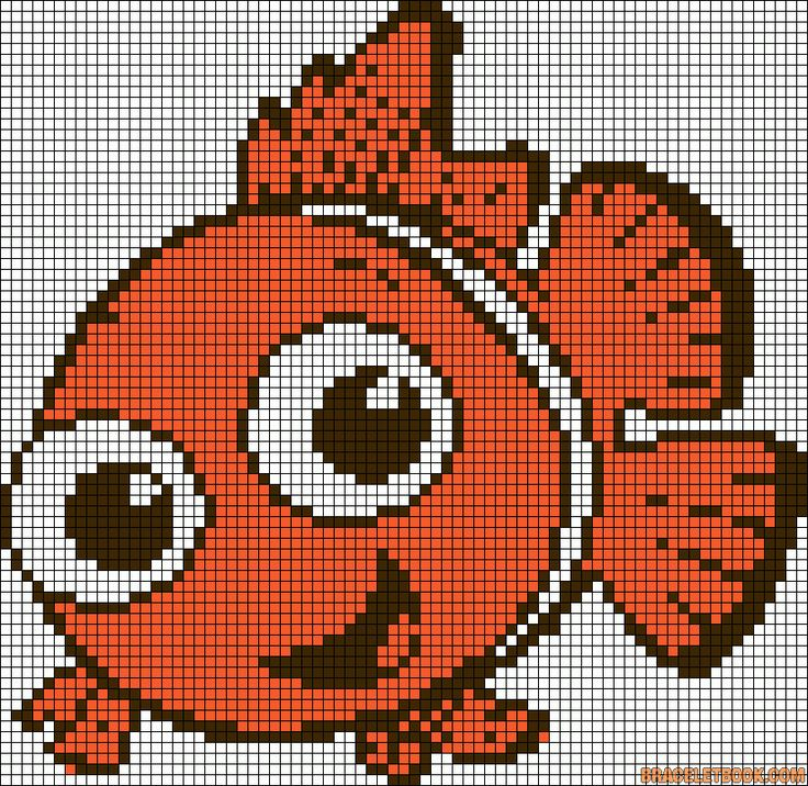 Friendship bracelet alpha pattern #8783 by szrene99 cross-stitch chart of Nemo, fish; DIY craft/jewellery making