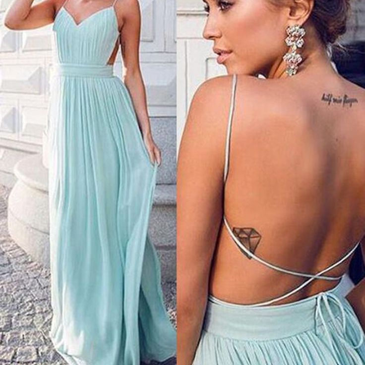 Cheap Simple Chiffon Open Back Cheap Tiffany Blue Prom