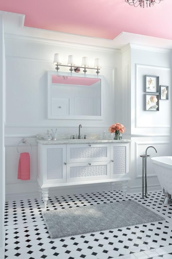 Pink ceiling. Just because!: Paintings Ceilings, Idea, Floors, Color, Pink Ceilings, White Bathroom, Girls Bathroom, White Wall, Pink Bathroom