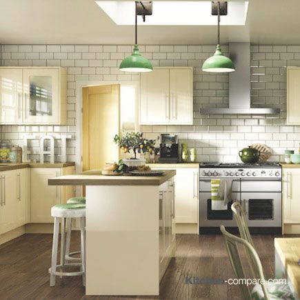 Wickes - Atlanta Cream. A modern take on the Shaker style, with a white high gloss finish and long, elegant handles. Click here for more info - http://bit.ly/1KEPecO